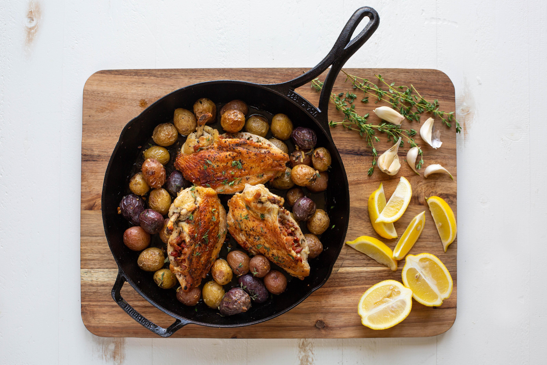 Pancetta Stuffed Airline Chicken Breast With Roasted Garlic Potatoes Blacklock Triple Seasoned Cast Iron
